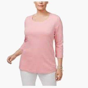 Women's Plus Size Cotton Henley 3/4 Sleeves Shirt